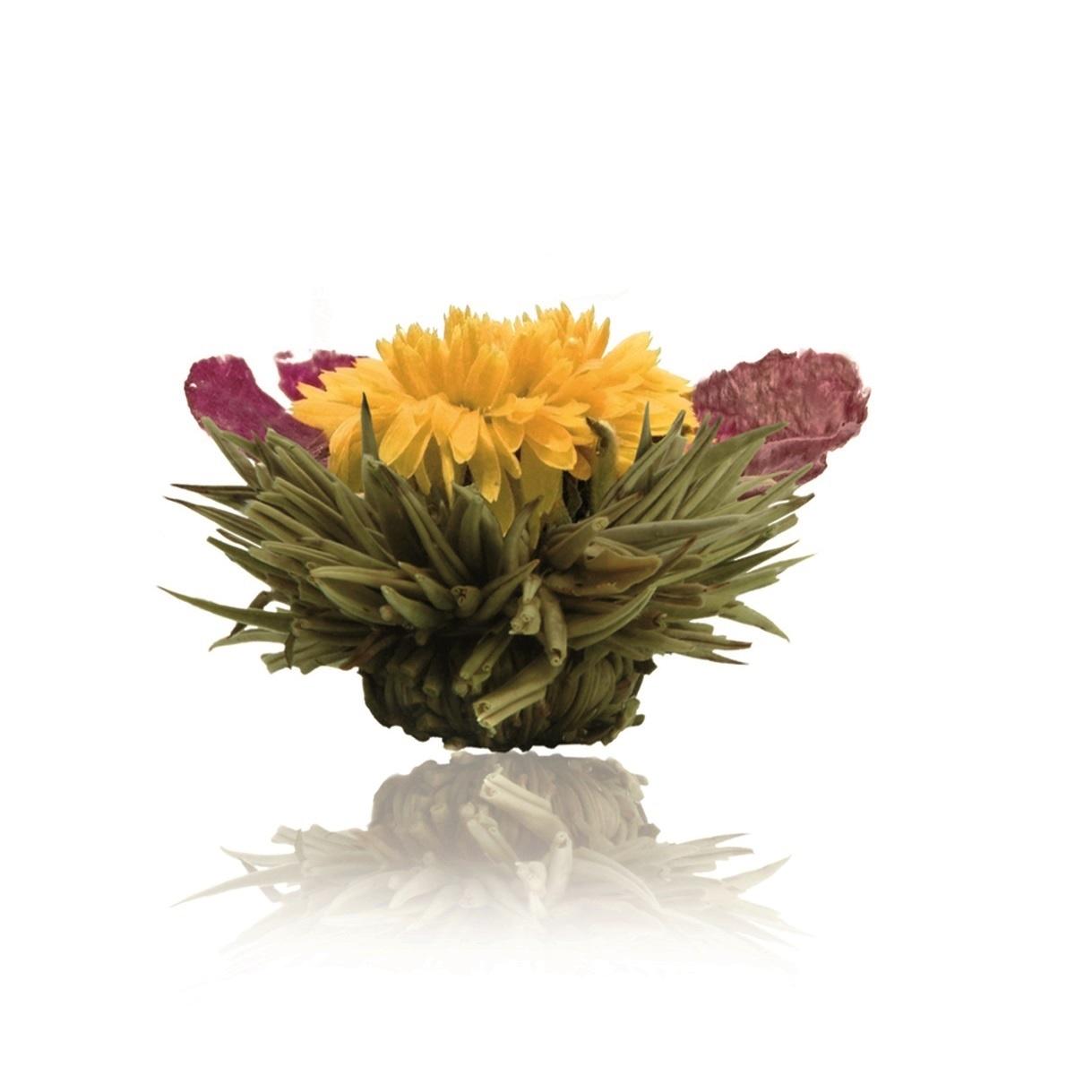 Floare de ceai alb cu galbenele si bujor